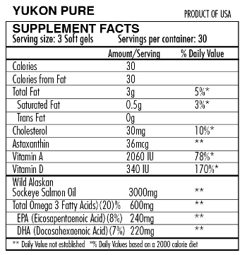Yukon Pure wild salmon oil omega 3 supplement